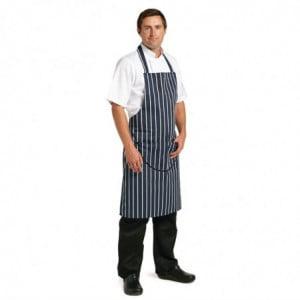 Tablier Bavette Avec Poche Rayé Marine Et Blanc 965 X 710 Mm Whites Chefs Clothing - 1