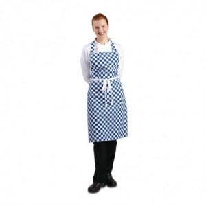 Tablier Bavette À Carreaux Bleus Et Blancs En Polycoton 710 X 970 Mm Whites Chefs Clothing - 1