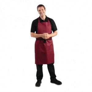 Tablier Bavette Bordeaux En Polycoton 710 X 970 Mm Whites Chefs Clothing - 1