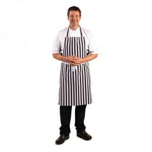 Tablier Bavette Rayé Noir Et Blanc En Polycoton 710 X 970 Mm Whites Chefs Clothing - 1