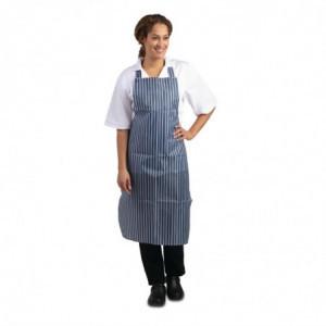 Tablier Bavette Déperlant Rayé Bleu Et Blanc 1016 X 711 Mm Whites Chefs Clothing - 1