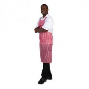 Tablier Bavette Déperlant Rayé Rouge Et Blanc 1016 X 711 Mm Whites Chefs Clothing - 1