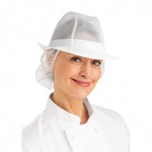 Chapeau Trilby Blanc Avec Résille - Taille M 570 Mm FourniResto - 1