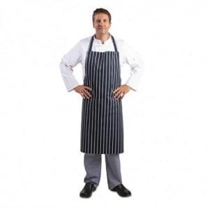 Tablier Bavette Extra Long Sans Poche Rayé Marine Et Blanc Whites Chefs Clothing - 1