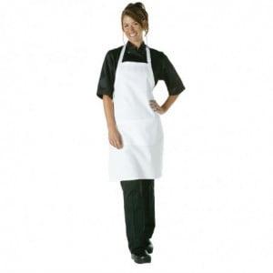 Tablier Bavette Blanc à Poche et Tour de Cou Réglable Chef Works - 1