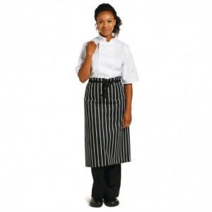 Tablier de Cuisine Rayé Blanc et Noir - 760 x 970 mm Whites Chefs Clothing - 1