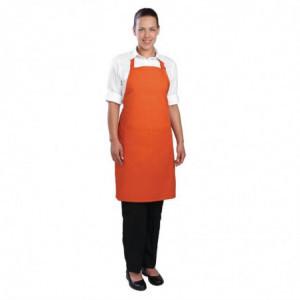 Tablier Bavette avec Tour de Cou Réglable et Double Poche Orange - 610 x 860 mm Chef Works - 1