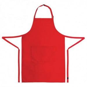 Tablier Bavette avec Tour De Cou Réglable et Double Poche Rouge - 610 x 860 mm Chef Works - 2