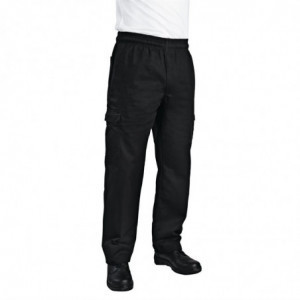 Pantalon de Cuisine Mixte Cargo Noir - Taille L Chef Works - 1