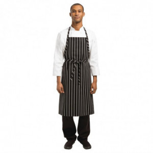 Tablier Bavette Tissé Premium à Rayures Noires et Blanches Chef Works - 1
