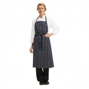 Tablier Bavette Tissé Premium à Rayures Bleu Marine et Blanches Chef Works - 1