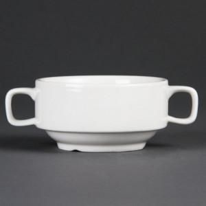 Bol à Soupe Blanc avec Anses - 115 mm de Diamètre - Lot de 6 Olympia - 1