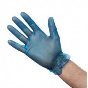 Gants Alimentaires En Vinyle Poudré Bleus Taille L - Lot De 100 Vogue - 1