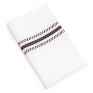 Serviette De Table Bistro Avec Rayures Noires 560 X 460 Mm - Lot De 10 FourniResto - 1