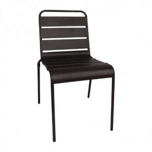 Chaise Empilable à Lattes Noire en Acier - Lot de 4 Bolero - 1