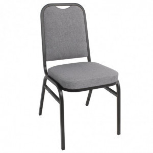 Chaise De Banquet Avec Dossier Carré Et Tissu Gris - Lot De 4 Bolero - 1