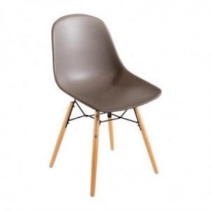 Chaise Moulée En Pp Avec Structure Métallique Arlo Café - Lot De 2 Bolero - 1