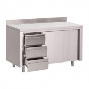 Table Armoire Inox Avec Dosseret 3 Tiroirs À Gauche Et Portes Coulissantes 2000X700Mm Gastro M - 1