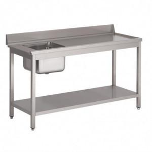 Table D'Entrée Lave-Vaisselle Inox Avec Bac À Gauche Dosseret Et Tablette Inférieure 1400X700Mm Gastro M - 1