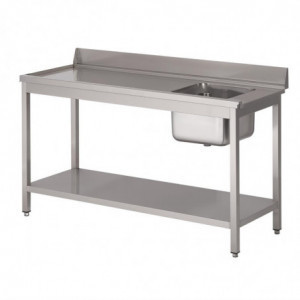 Table D'Entrée Lave-Vaisselle Inox Avec Bac À Droite Dosseret Et Tablette Inférieure 1400X700Mm Gastro M - 1