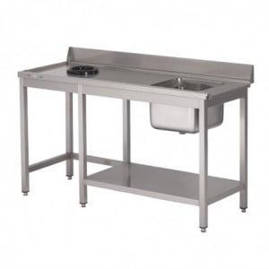 Table D'Entrée Lave-Vaisselle Inox Avec Bac À Droite Tvo Dosseret Et Tablette Inférieure 1000 X 700Mm Gastro M - 1