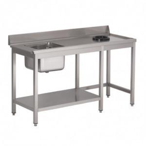 Table D'Entrée Lave-Vaisselle Inox Avec Bac À Gauche Tvo Dosseret Et Tablette Inférieure 1400X700Mm Gastro M - 1