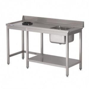 Table D'Entrée Lave-Vaisselle Inox Avec Bac À Droite Tvo Dosseret Et Tablette Inférieure 1400X700Mm Gastro M - 1
