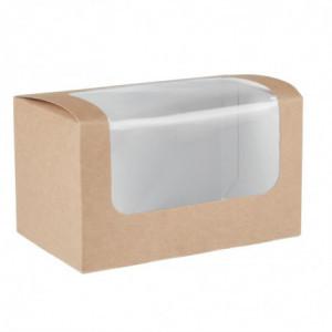 Boîtes Sandwich Rectangulaires Kraft Compostables Avec Fenêtre Pla - Lot De 500 Colpac - 1