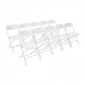Chaises Pliantes Blanches - Lot de 10 Bolero - 1