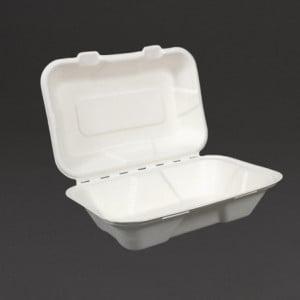 Boîtes Repas En Bagasse Avec Couvercle À Charnière 228Mm - Lot De 200 Vegware - 1
