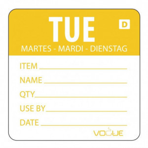 Etiquettes Solubles Jour De La Semaine Mardi - Rouleau De 250 Vogue - 1