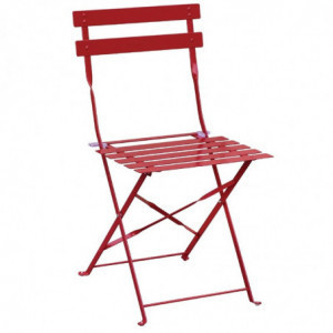 Chaises De Terrasse En Acier - Rouges - Lot De 2 Bolero - 1