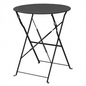 Table De Terrasse En Acier - Noire Bolero - 1