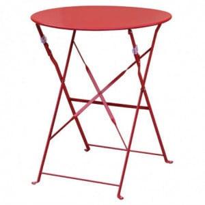 Table De Terrasse En Acier - Rouge Bolero - 1