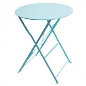 Table De Terrasse Ronde En Acier - Bleu Turquoise - 595Mm Bolero - 1