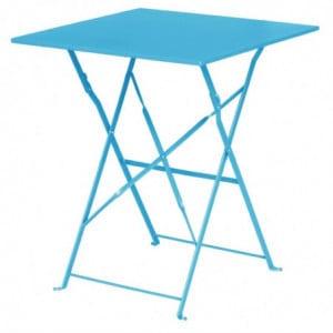 Table De Terrasse Carrée En Acier - Bleu Turquoise - 600Mm Bolero - 1