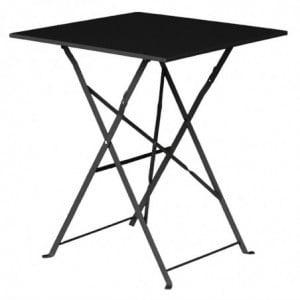 Table De Terrasse Carrée En Acier - Noire - 600Mm Bolero - 1