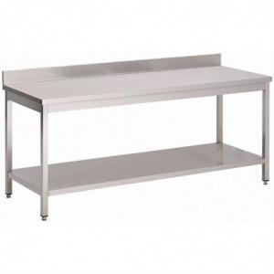 Table Inox Avec Dosseret Et Étagère Basse 1000 X 600 X 850Mm Gastro M - 1