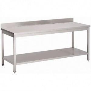 Table Inox Avec Dosseret Et Étagère Basse 2000 X 600 X 850Mm Gastro M - 1