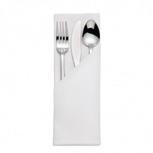 Serviettes Blanches En Coton Bande De Satin - Lot De 10 Mitre Luxury - 1