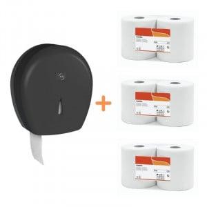 Pack Jumbo Noir - Distributeur pour Papier Toilette Noir et Papier Toilette FourniResto - 1