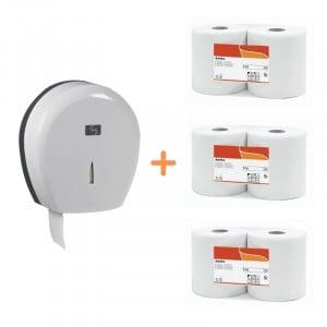 Pack Jumbo Blanc - Distributeur pour Papier Toilette Blanc et Papier Toilette FourniResto - 1