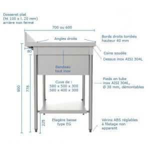 Plonge avec Cache Cuve Longueur 1200 - Série 600 SOFINOR - 3