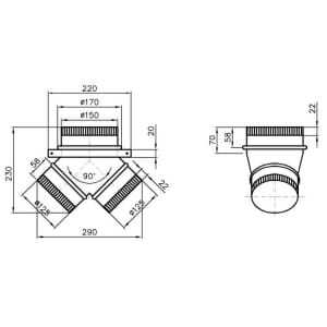 Manchon pour Hotte 900/1000 mm